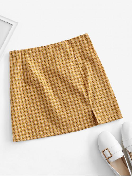 shops Side Zipper Plaid Front Slit Mini Skirt - YELLOW L