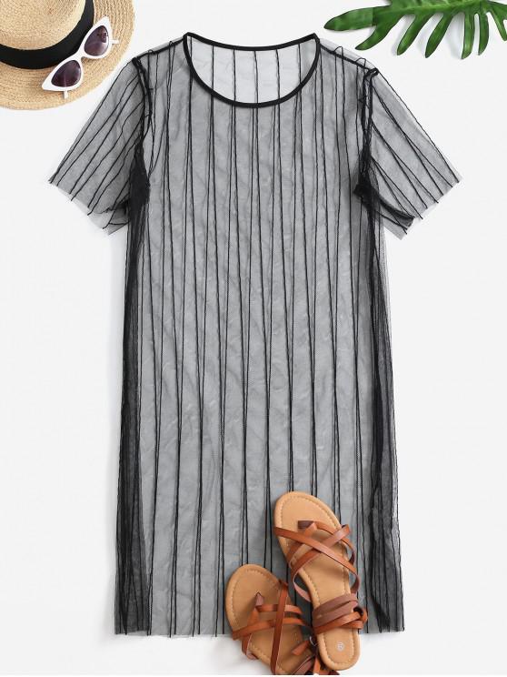 lady See Thru Mesh Cover-up Dress - BLACK S
