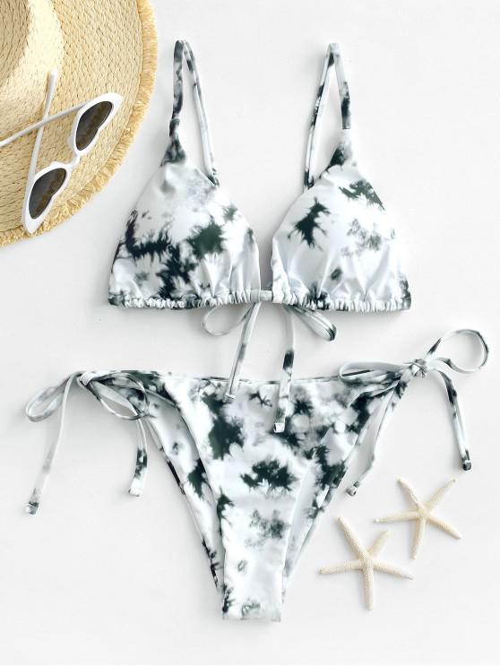 best ZAFUL Tie Dye String Bikini Swimsuit - GRAY CLOUD S