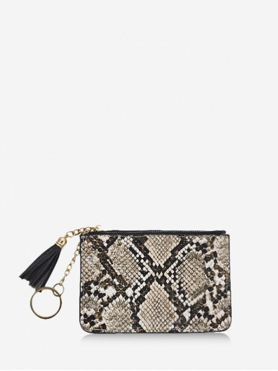sale Snakeskin Pattern Tassel Clutch Wallet - LIGHT COFFEE