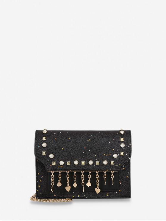 ladies Polka Fringe Sparkle Sequins Chain Crossbody Bag - BLACK