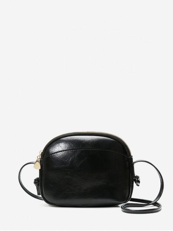 womens Plain Mini Shell Crossbody Bag - BLACK