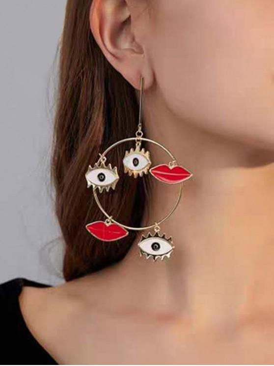 online Evil Eye Lip Large Circle Drop Earrings - GOLD