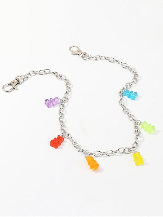 trendy Colorful Bear Charm Waist Chain - SILVER