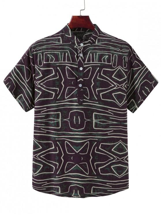 affordable Abstract Line Print Ethnic Stand Collar Henley Shirt - MULTI-B 3XL