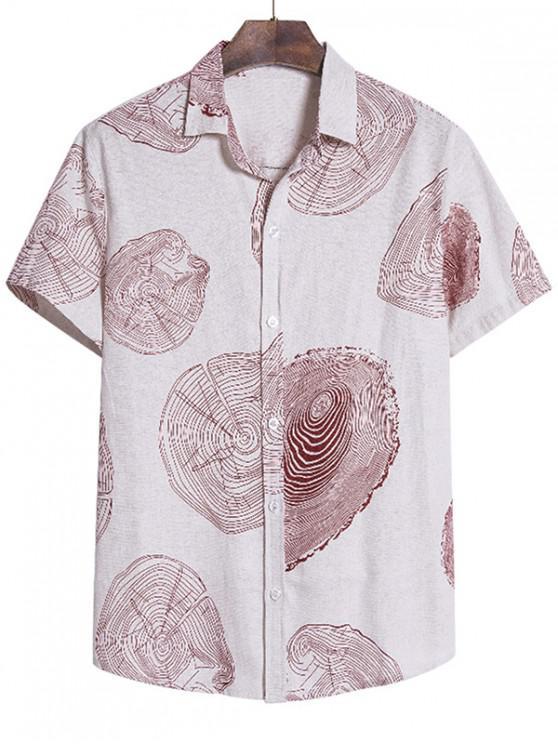Tree Ring Print Short Sleeve Beach Shirt - متعددة-B 2XL