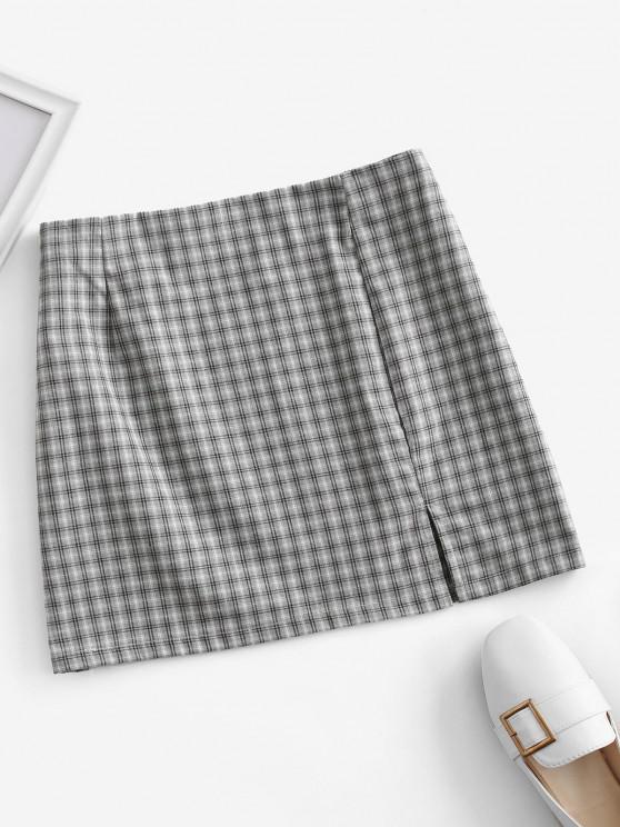 hot Side Zipper Plaid Front Slit Mini Skirt - BLUE GRAY M