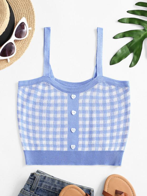 affordable Plaid Knit Crop Tank Top - LIGHT BLUE ONE SIZE