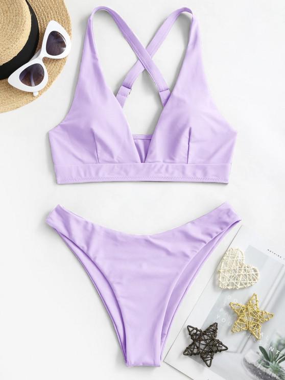 fancy ZAFUL High Cut Crisscross Bikini Swimsuit - LIGHT PURPLE S