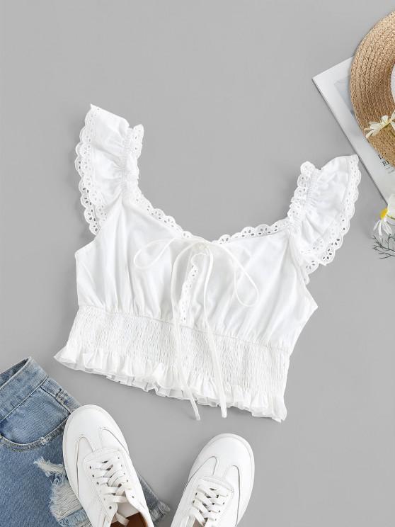 outfits ZAFUL Eyelet Smocked Bowknot Ruffle Crop Blouse - WHITE S