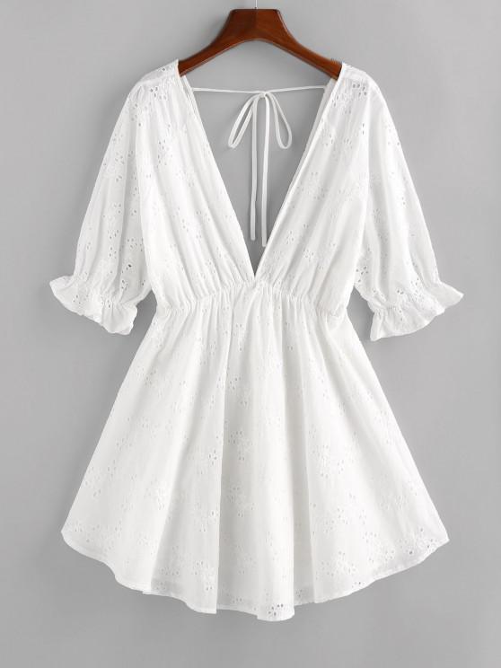 unique ZAFUL Eyelet Plunging Poet Sleeve Dress - WHITE S