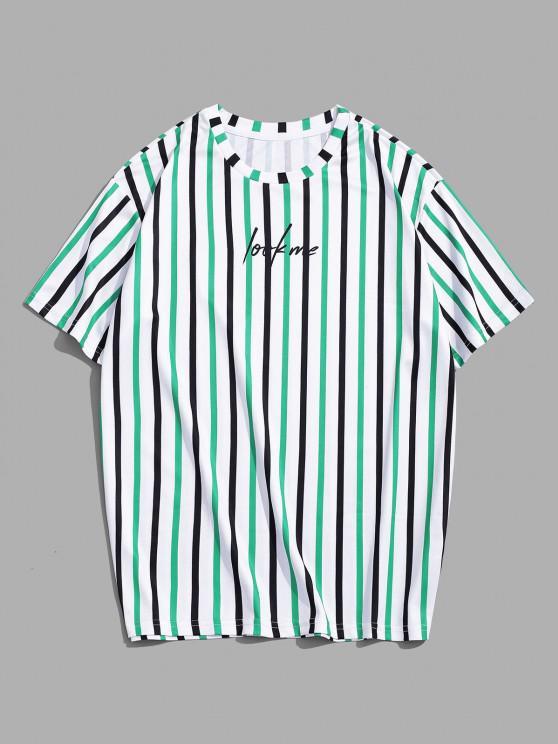 Gestreiftes T-Shirt mit Kurzen Ärmeln und Buchstaben - Kleeblatt Grün 3XL