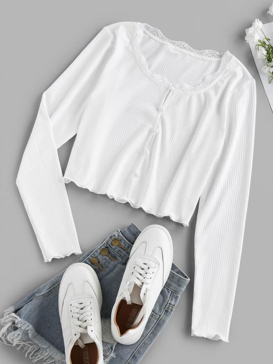 chic ZAFUL Ribbed Button Up Lace Insert Crop T-shirt - WHITE XL