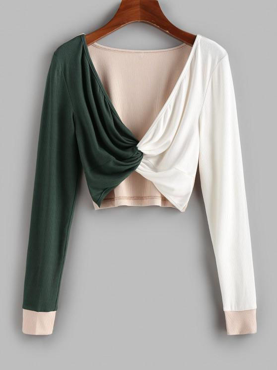 shop ZAFUL Ribbed Colorblock Twisted Crop T-shirt - MULTI-C XL