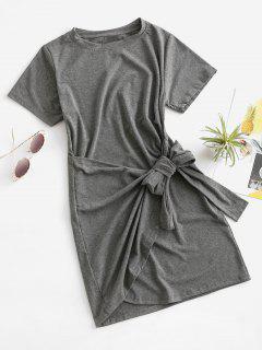 Overlap Tie Short Sleeve Tee Dress - Battleship Gray M
