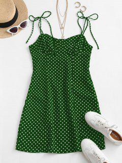 Tie Shoulder Polka Dot Mini Dress - Green M