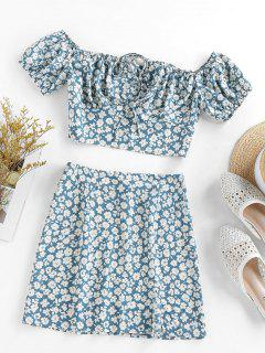 ZAFUL Flower Print Bowknot Slit Keyhole Mini Skirt Set - Blue Gray S