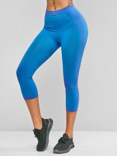 High Waisted Colorblock Sports Capri Leggings - Crystal Blue L