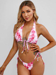 ZAFUL Halter Tie Dye String Bikini Swimwear - Pink M