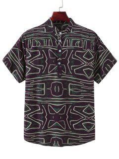Abstract Line Print Ethnic Stand Collar Henley Shirt - Multi-b M