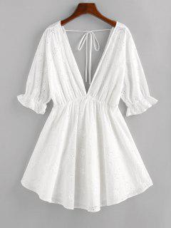 ZAFUL Eyelet Plunging Poet Sleeve Dress - White M