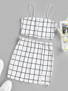 ZAFUL Grid Slit Cami Mini Skirt Set - White M