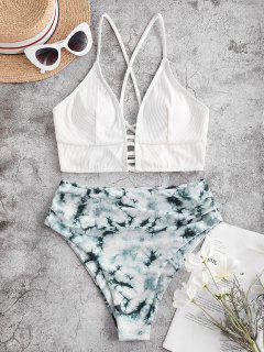 ZAFUL Tie Dye Ribbed Lace Up High Cut Tankini Swimsuit - Black M