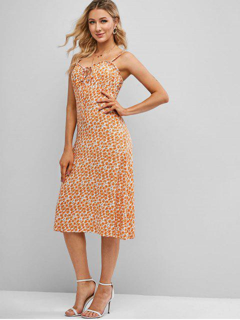 sale Cami Tie Collar Ditsy Floral Dress - BEE YELLOW L Mobile