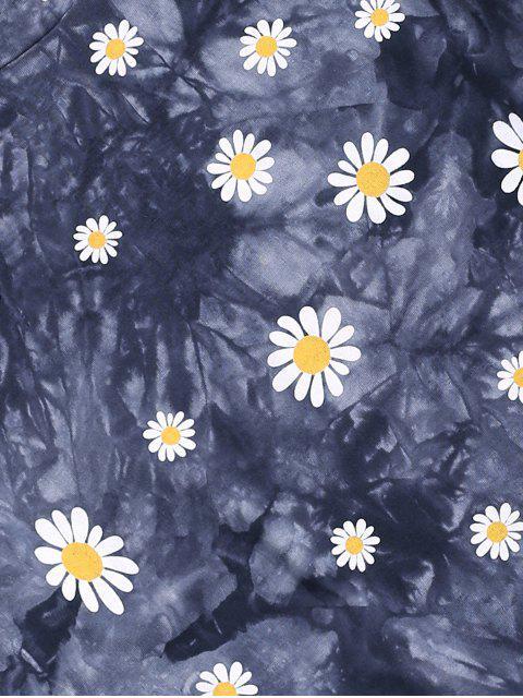 shop ZAFUL Daisy Tie Dye Short Sleeve T-shirt - MULTI-A 2XL Mobile