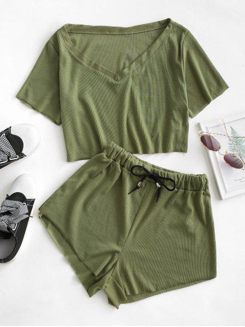 best Raw Cut Ribbed V Neck Drawstring Two Piece Set - FERN GREEN S Mobile