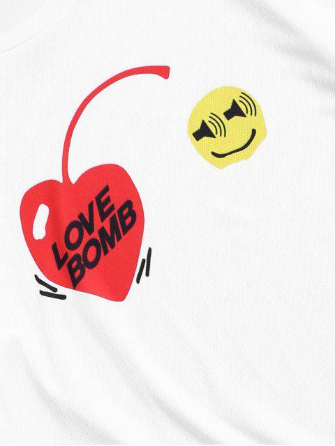 chic Heart Graphic Printed Short Sleeves T-shirt - WHITE 2XL Mobile