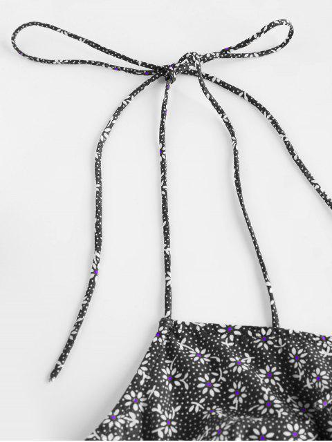 affordable ZAFUL Tie Shoulder Ditsy Print Mini Dress - BLACK L Mobile