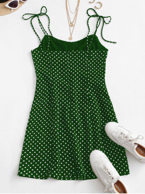 Mini Abito a Pois con Spalline Annodate - Verde M Mobile