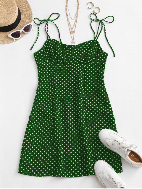 fashion Tie Shoulder Polka Dot Mini Dress - GREEN L Mobile