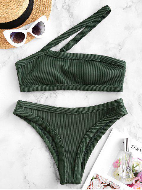 ZAFUL Maillot de Bain Bikini Côtelé Texturé à Une Epaule - Vert profond L Mobile