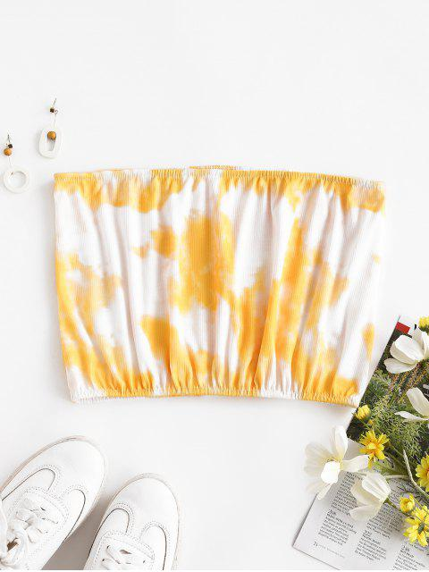 Top Barriga de Fora com Tintura de Gravata Cortado - Amarelo XL Mobile