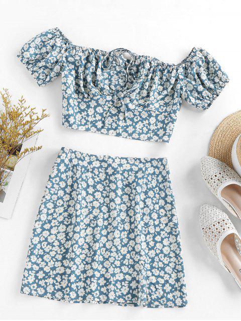 ladies ZAFUL Flower Print Bowknot Slit Keyhole Mini Skirt Set - BLUE GRAY M Mobile