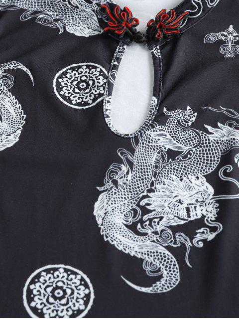 lady ZAFUL Oriental Dragon Print Keyhole Co Ord Set - BLACK M Mobile