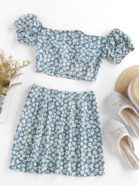 online ZAFUL Flower Print Bowknot Slit Keyhole Mini Skirt Set - BLUE GRAY S Mobile