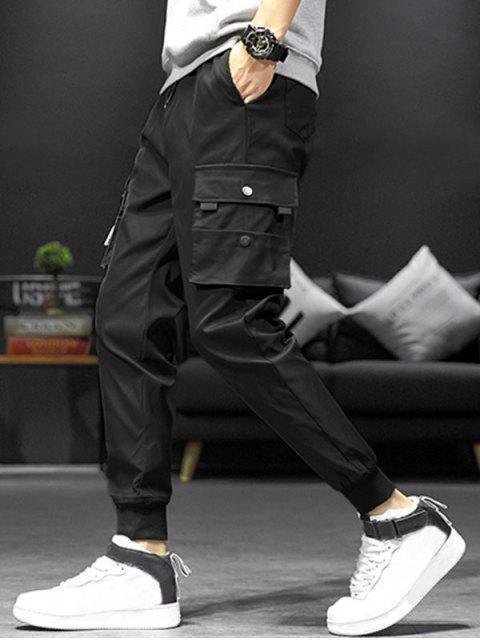 Pantalones Jogger de Cordón con Bolsillos de Solapa - Negro S Mobile