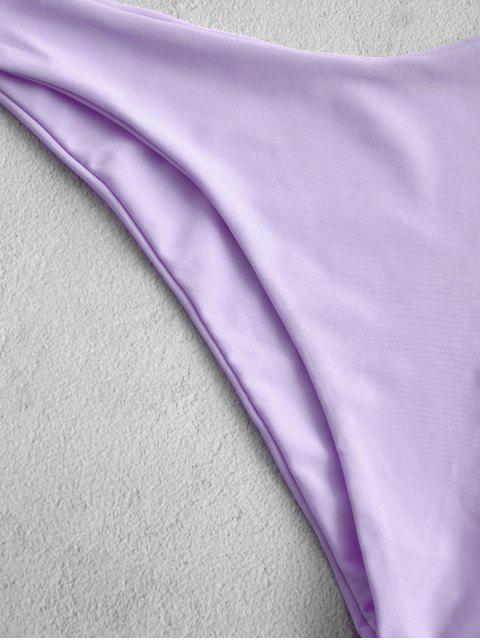 ZAFUL Maillot de Bain Bikini Néon Noué à Coupe Haute à Volants - Violet clair L Mobile