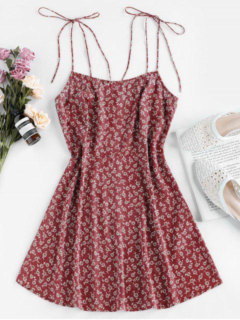 ZAFUL Mini Vestido con Estampado de Hombro con Lazo Descubierto - Vino Tinto XL Mobile