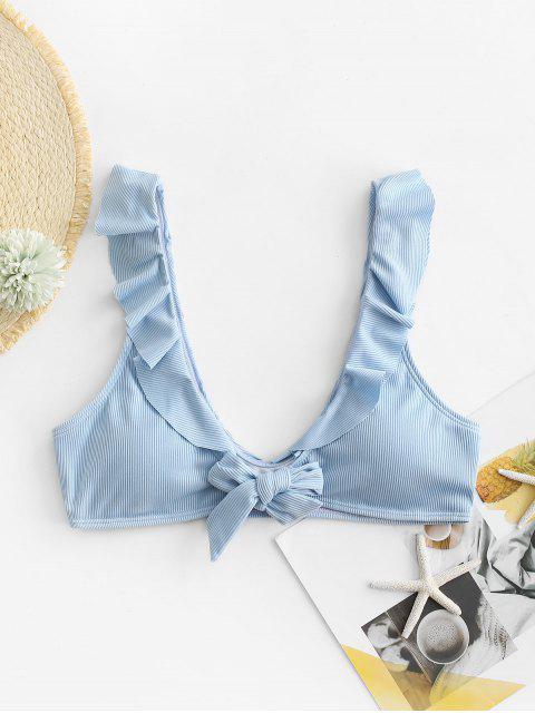 ZAFUL Ribbed Ruffle Tie Front Bikini Top - ازرق M Mobile