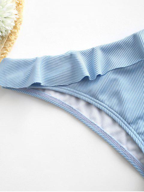 outfits ZAFUL Ribbed Ruffle Bikini Bottom - DENIM BLUE L Mobile