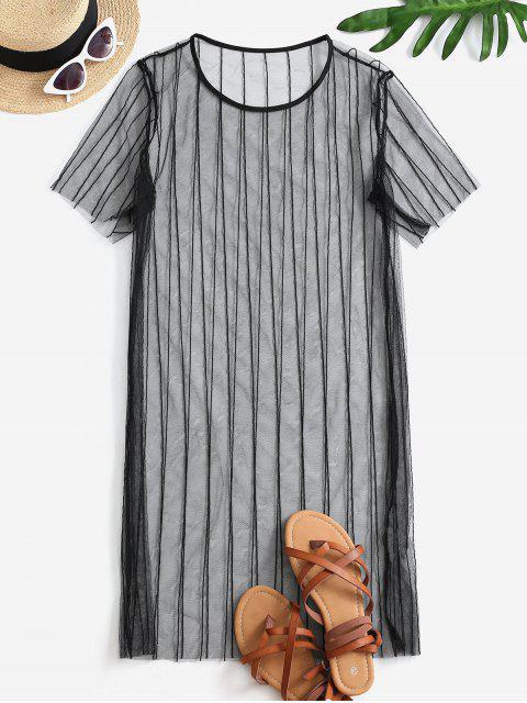 Durchsichtiges Shiere Netz Cover-Up Kleid - Schwarz L Mobile