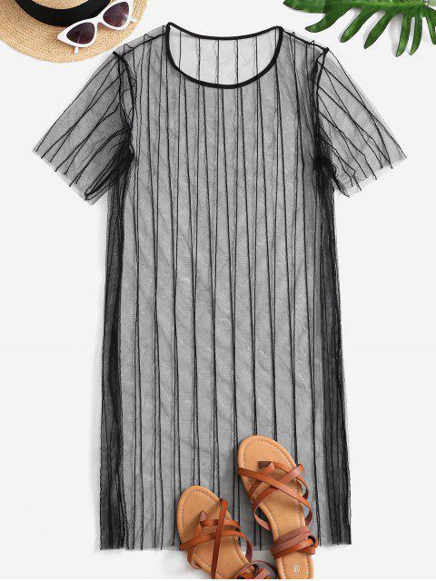 online See Thru Mesh Cover-up Dress - BLACK L Mobile