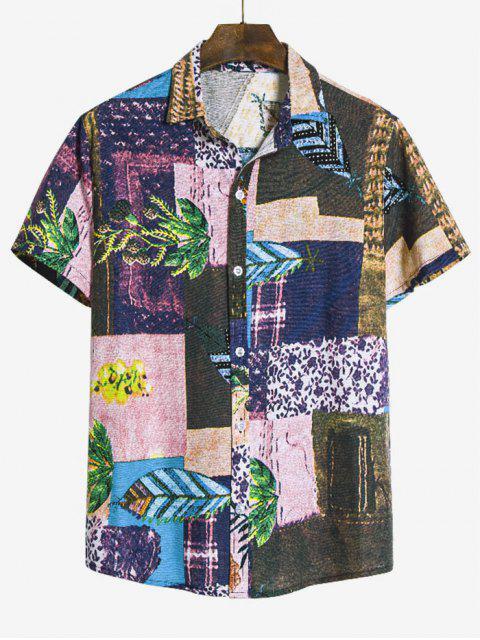 chic Leaf Pattern Block Ethnic Button Up Shirt - MULTI-B 3XL Mobile