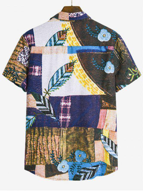 fashion Leaf Pattern Block Ethnic Button Up Shirt - MULTI-B 2XL Mobile