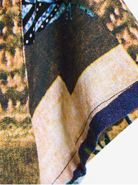 trendy Leaf Pattern Block Ethnic Button Up Shirt - MULTI-B XL Mobile