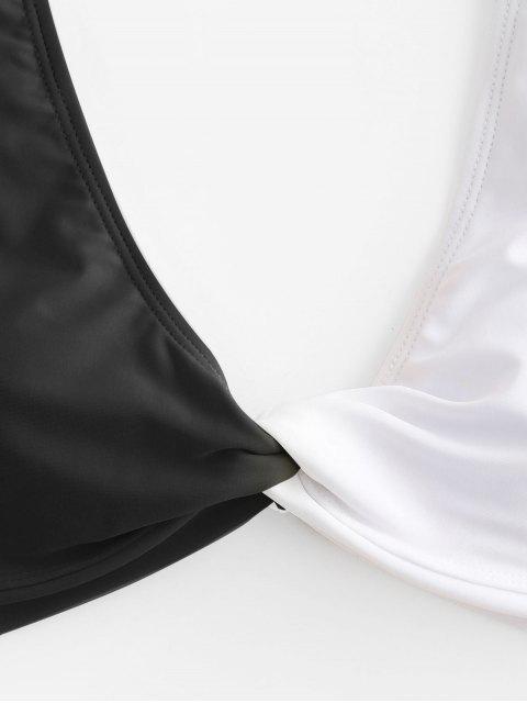 buy ZAFUL Colorblock Twisted Plunging High Leg Bikini Swimsuit - BLACK M Mobile